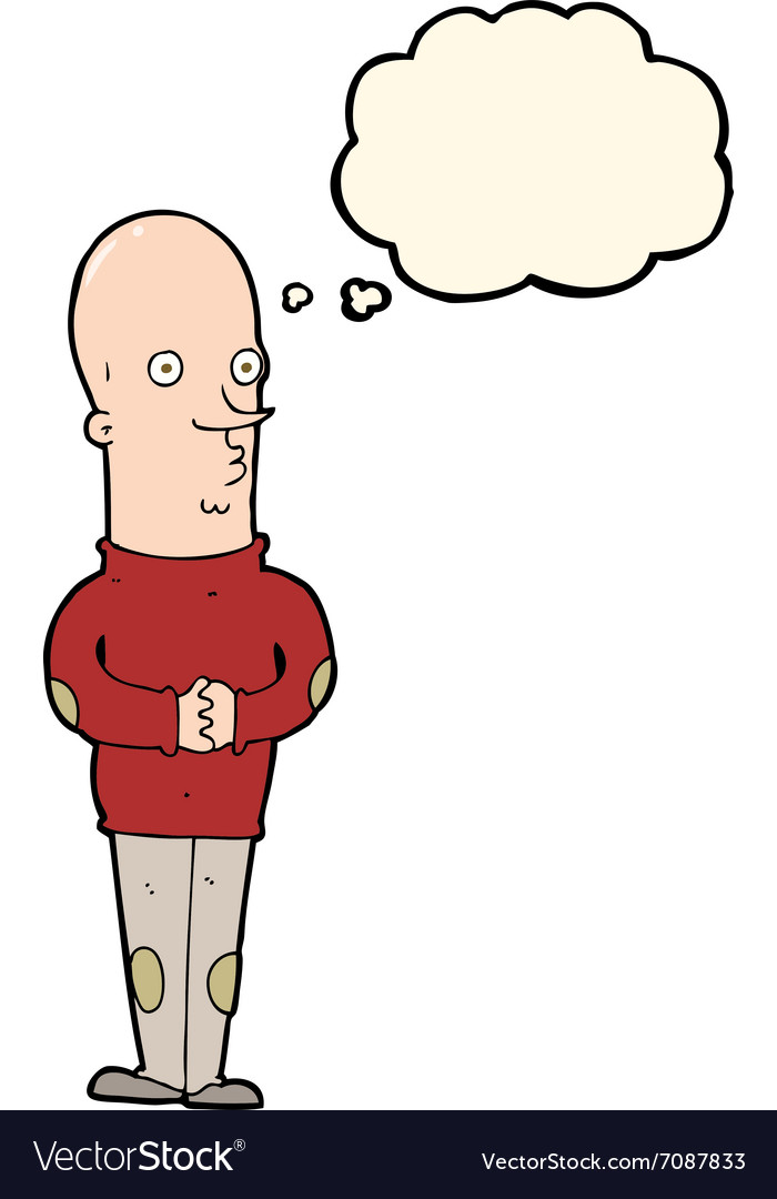 Cartoon funny bald man with thought bubble vector