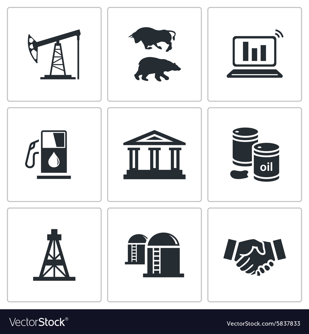 Exchange of gas and oil industry icons set vector