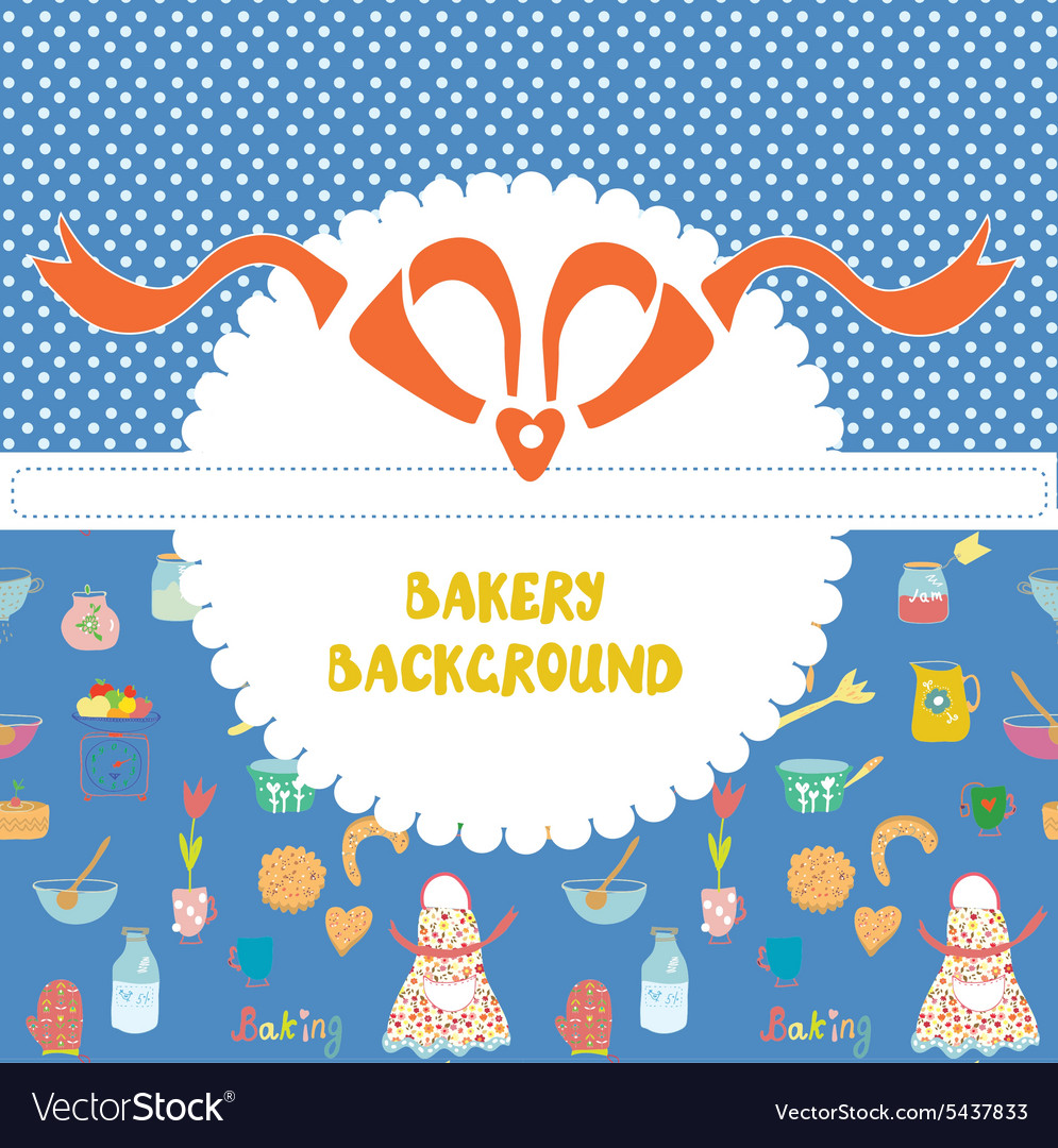 Funny background for the bakery with pattern vector
