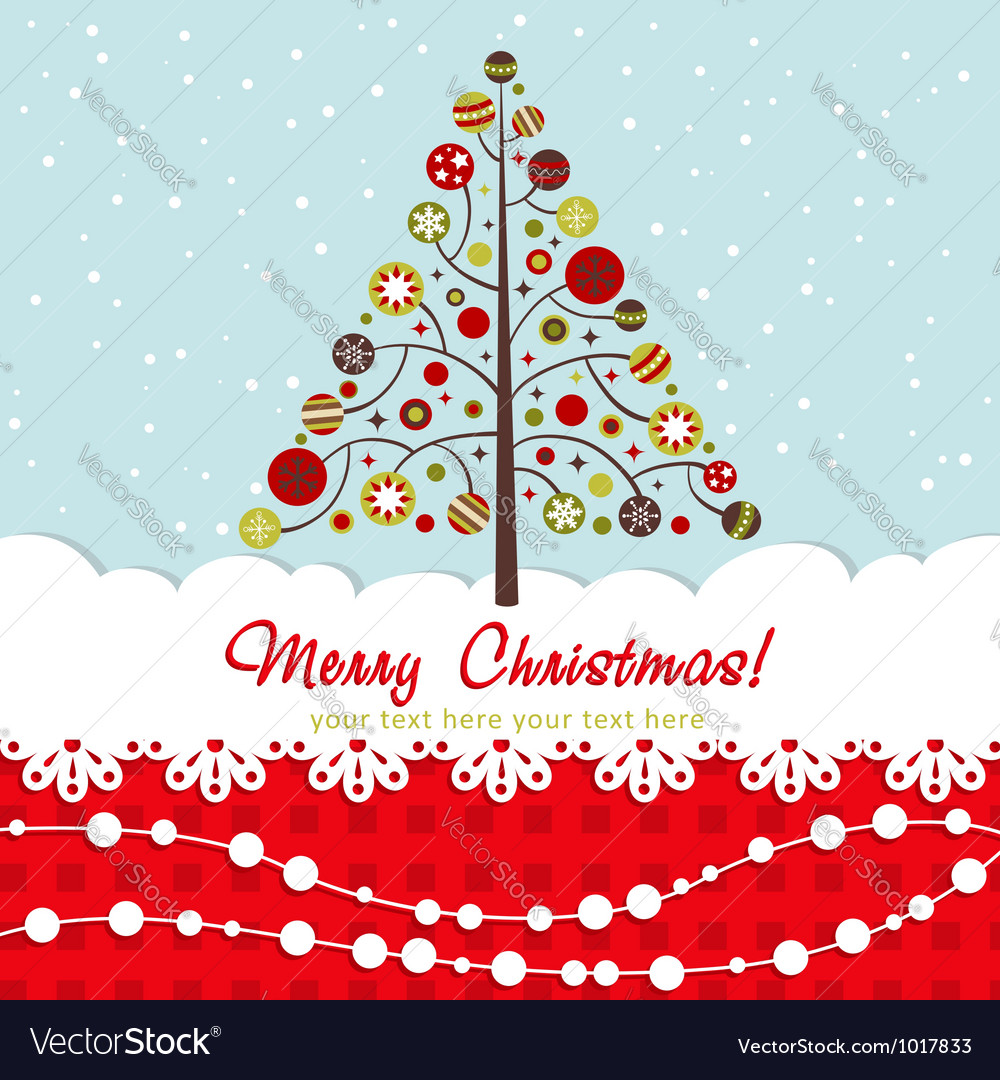 Ornate christmas card with xmas tree vector