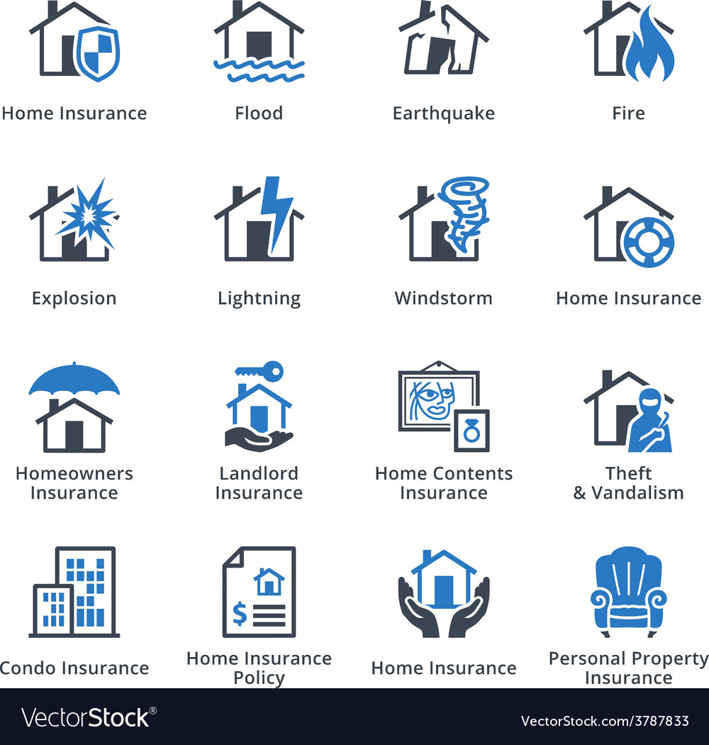 Property insurance  blue series vector