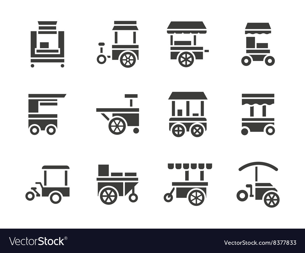 Simple glyph food trolley icons set vector