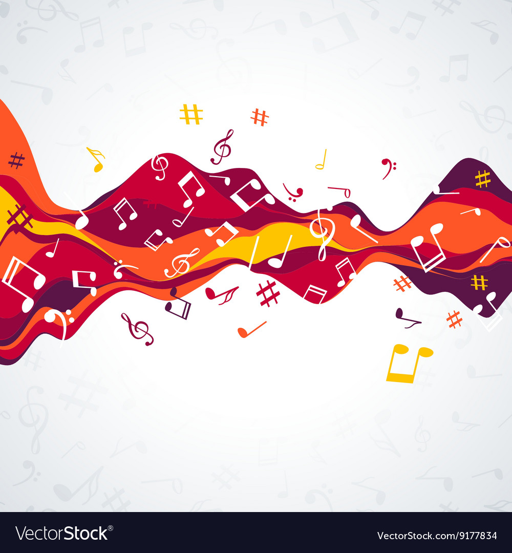Musical sound wave with notes colorful music vector