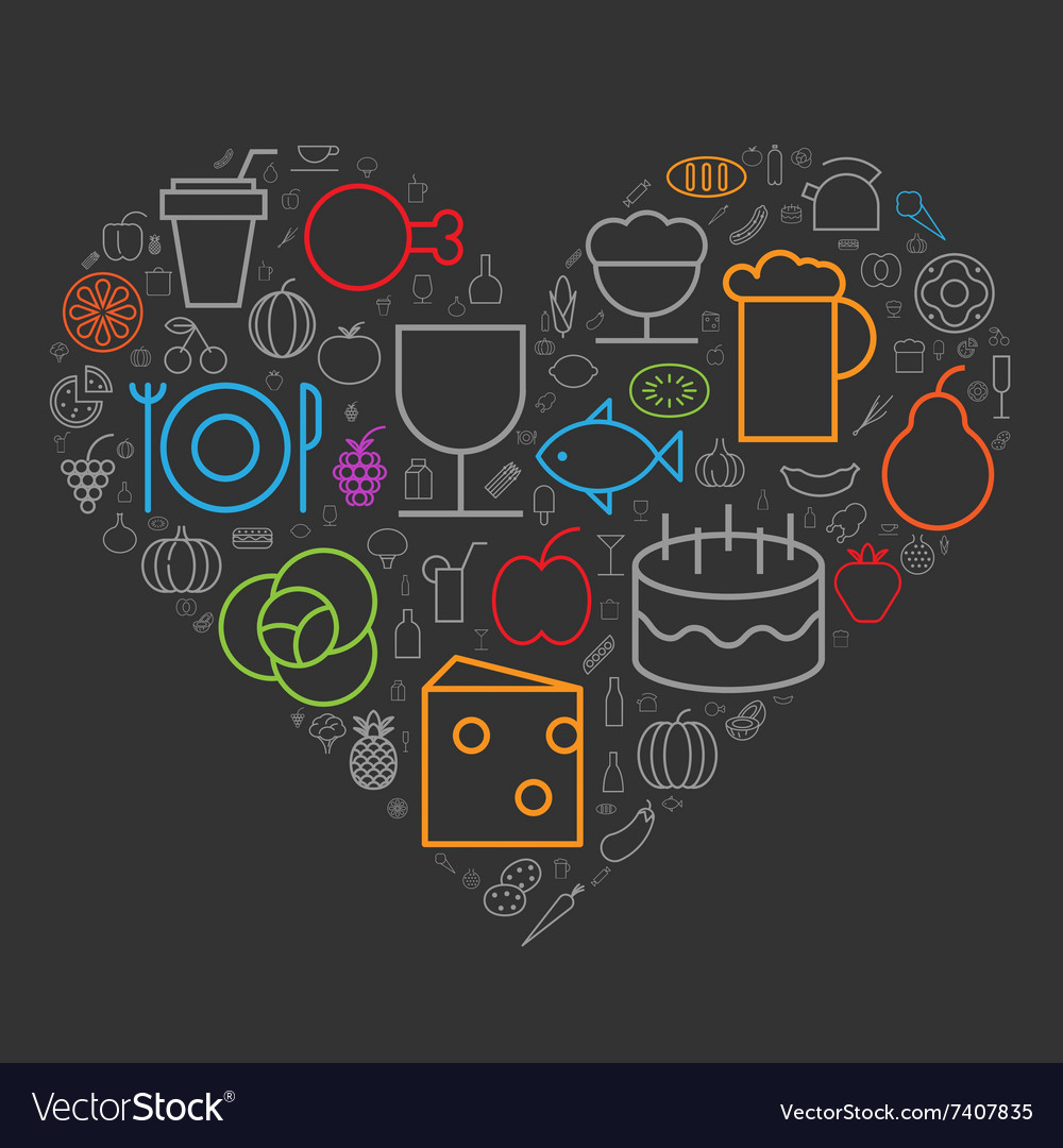 Icons shape line food drinks heart vector
