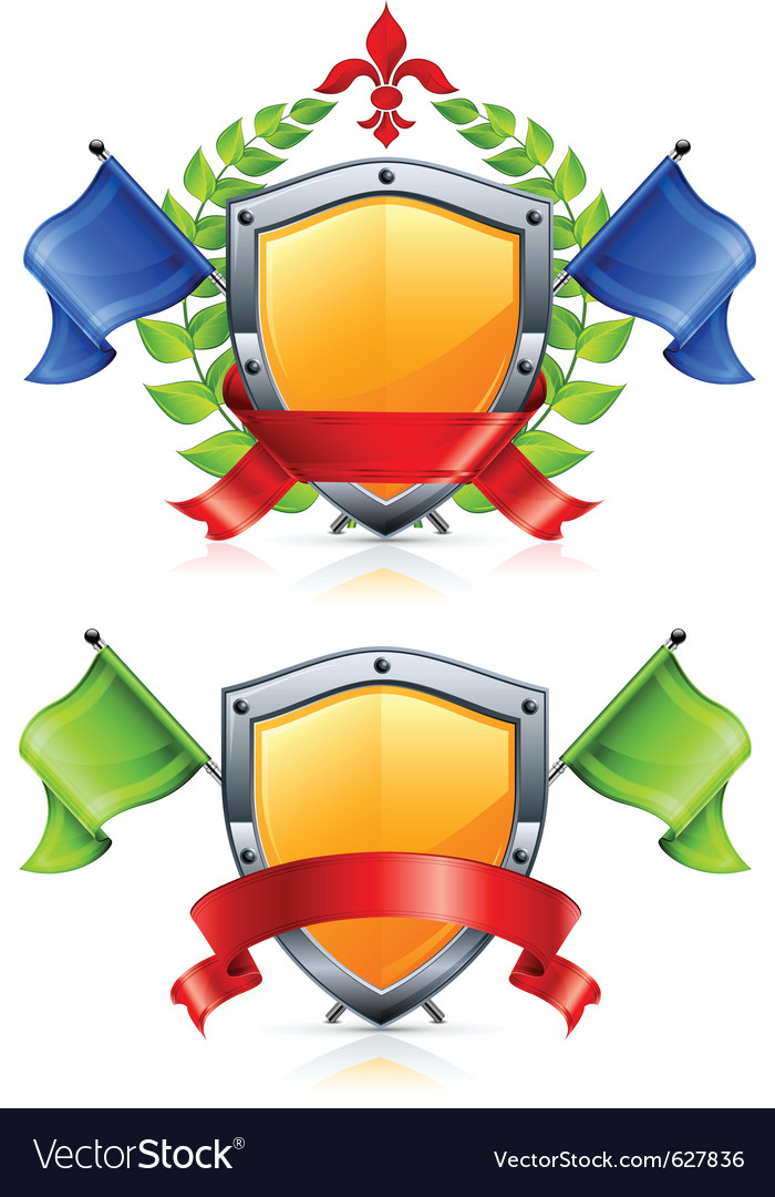 Coat of arms with shield triangular flags wreath r vector