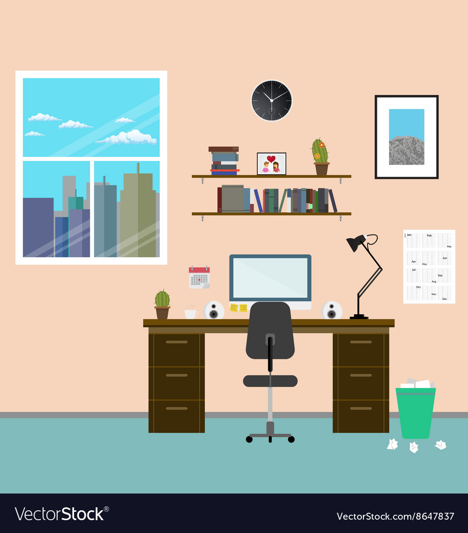 Cozy modern workplace near the window in room flat vector