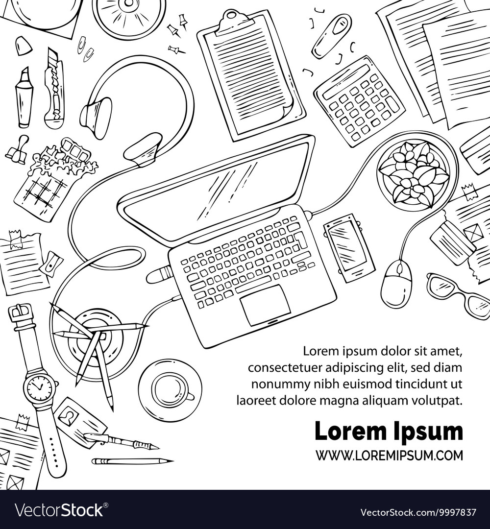 Doodles office workplace education backgound vector