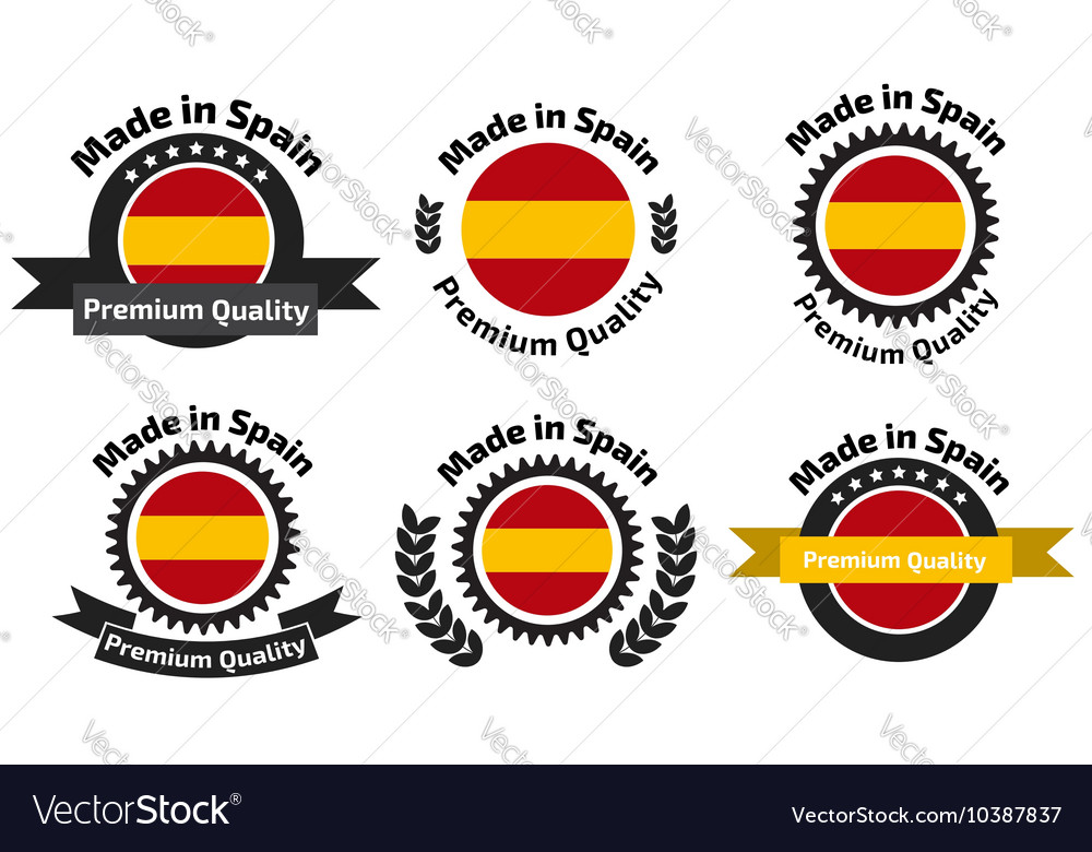 Made in spain badge set vector
