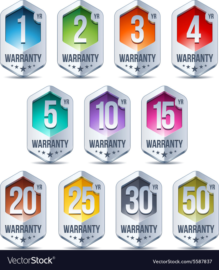 Warranty seal hexagon chrome badge vector