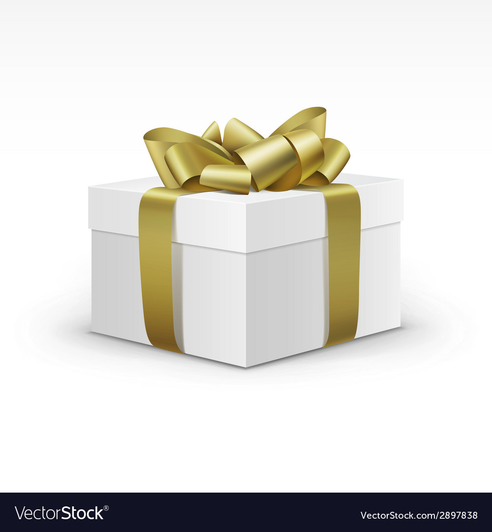 White gift box with yellow gold ribbon isolated vector
