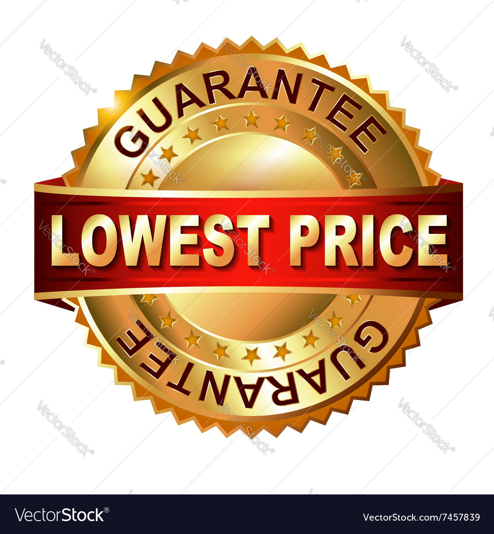 Lowest price golden label with ribbon vector