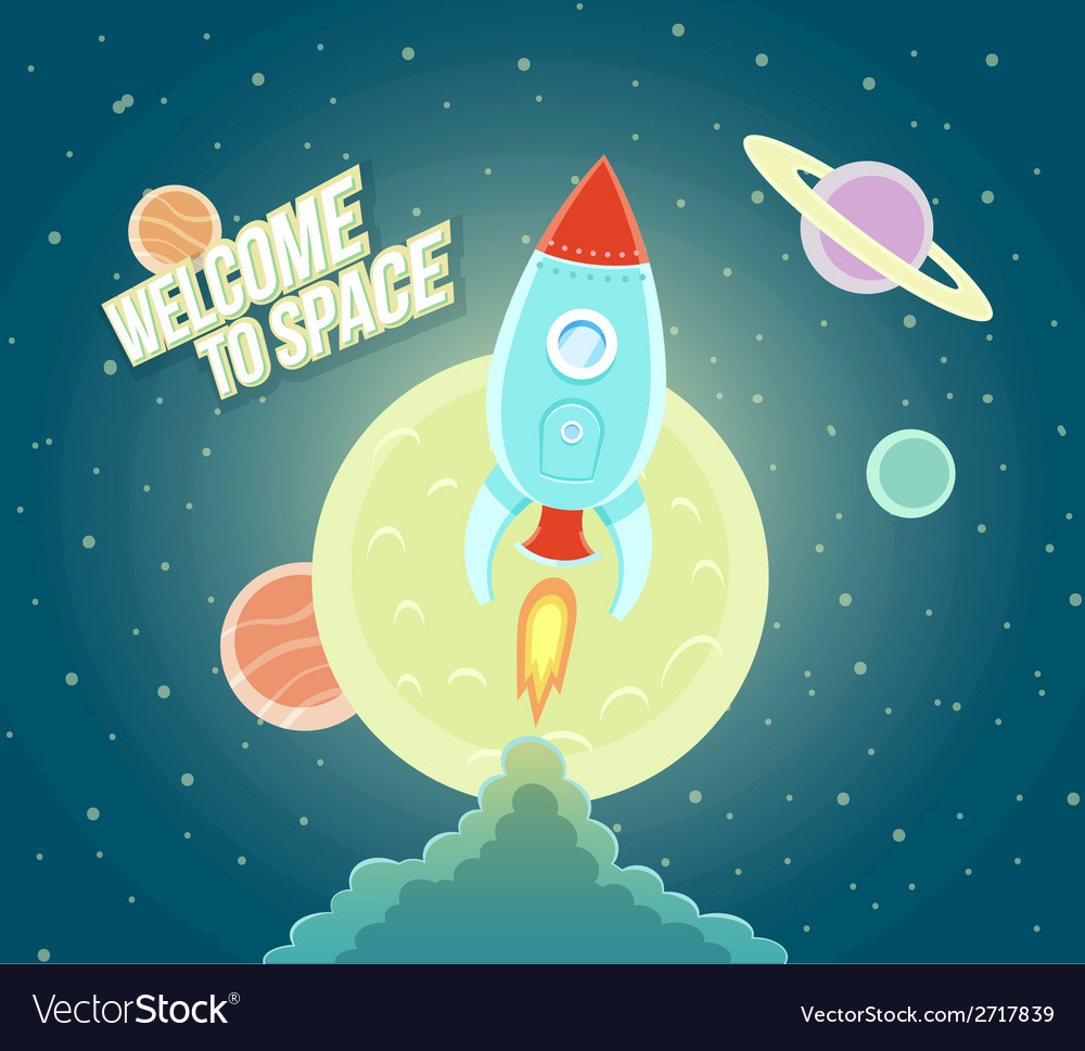 Space rocket ship sky icon cartoon modern flat vector