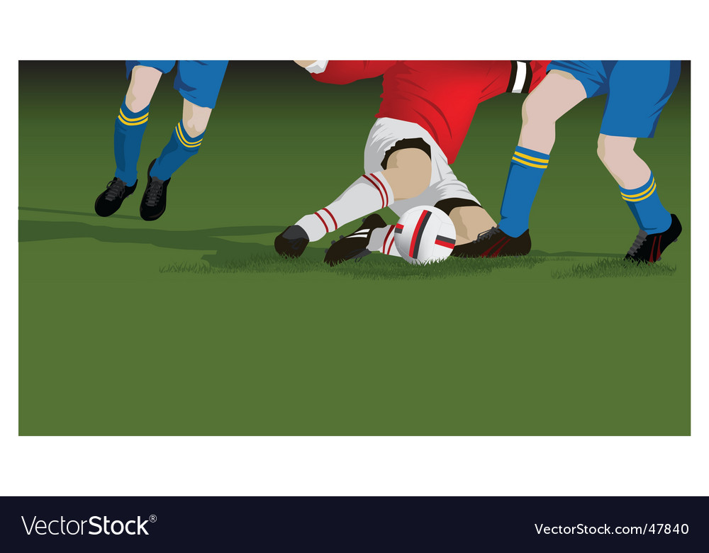 Football soccer tackle close up vector