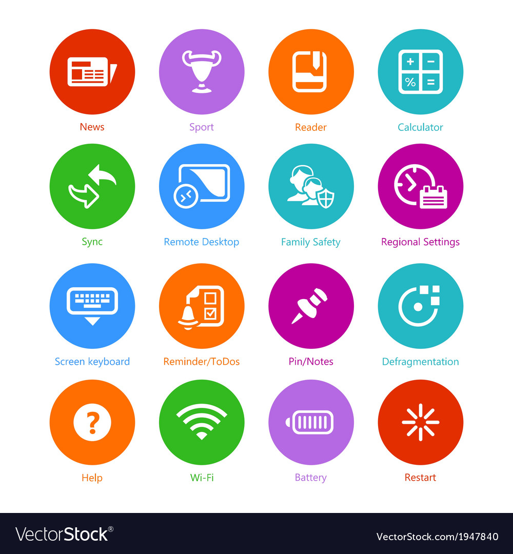 System flat icons  set iii vector