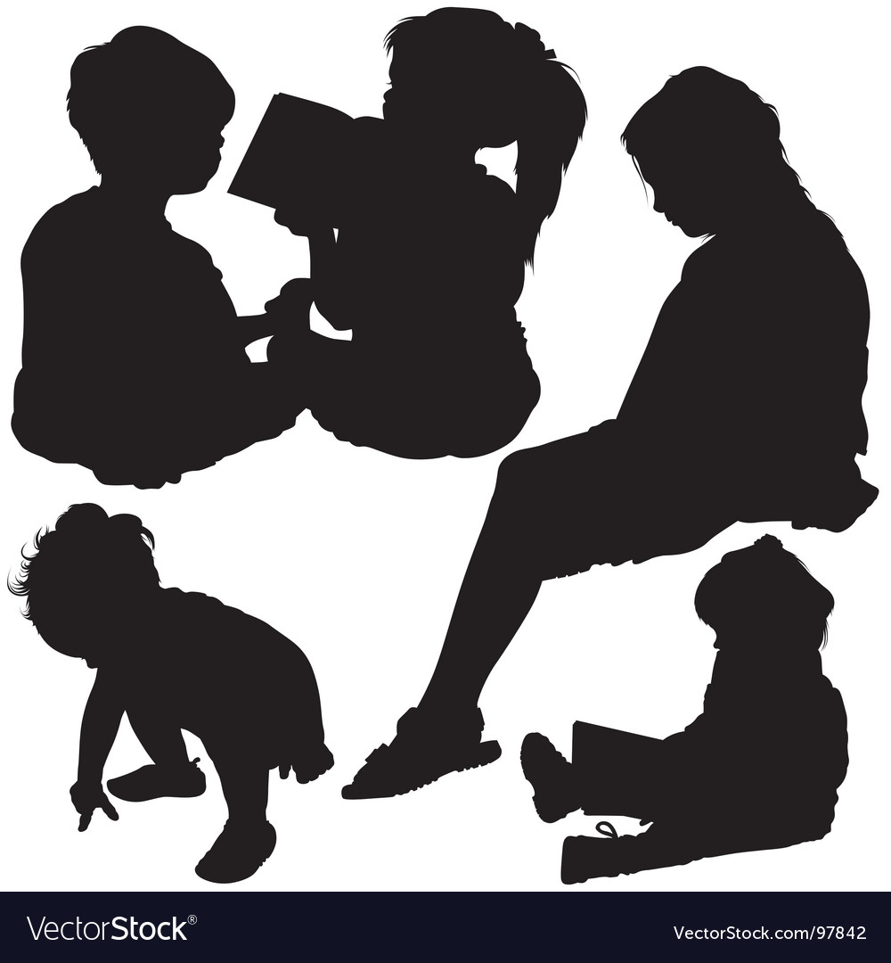 Childs silhouettes vector