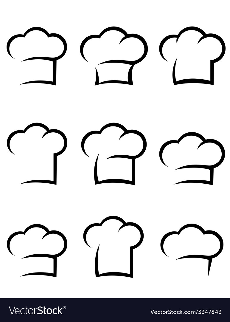 Black chef hat set vector