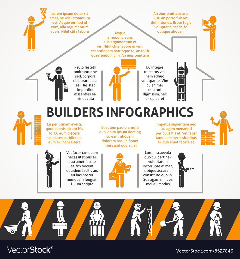 Builders flat color infographic set vector