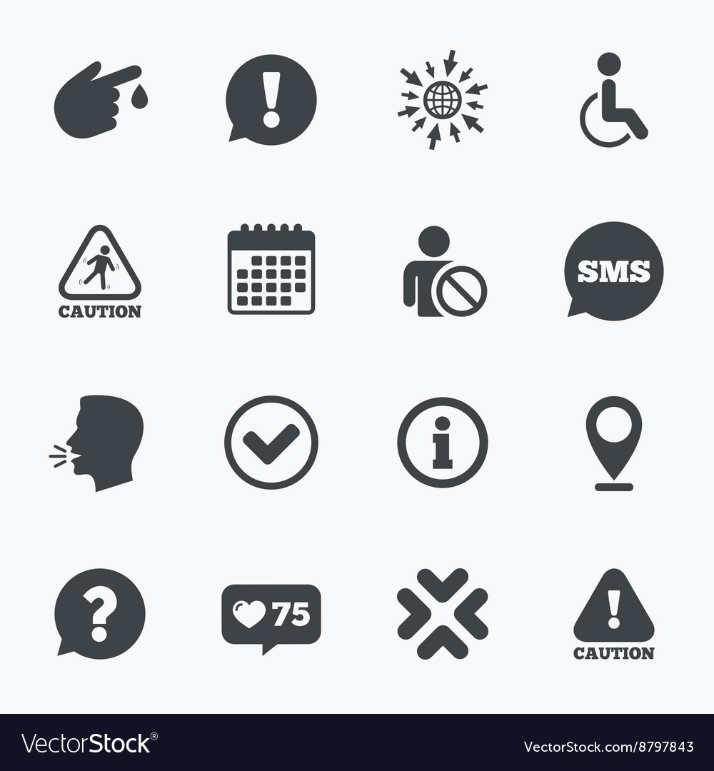 Caution and attention icons information signs vector