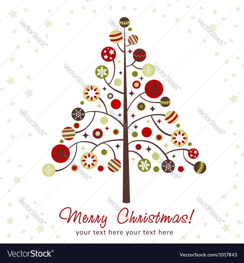 Stylized design christmas tree with xmas toys vector