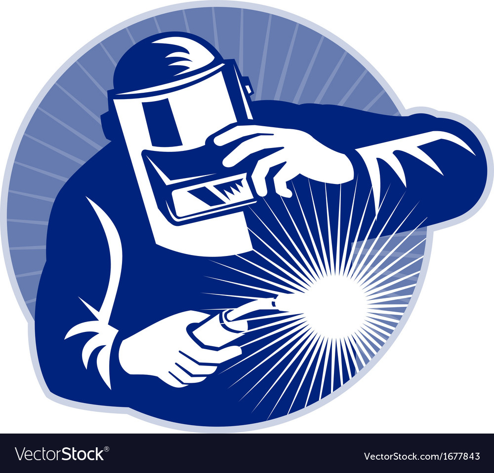 Welder at work welding set inside circle vector