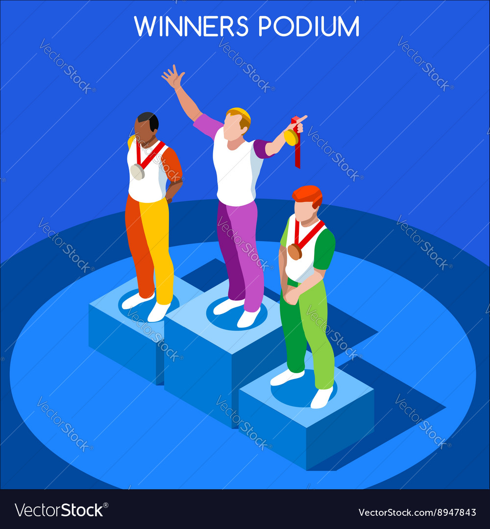 Winner podium 2016 summer games isometric 3d vector