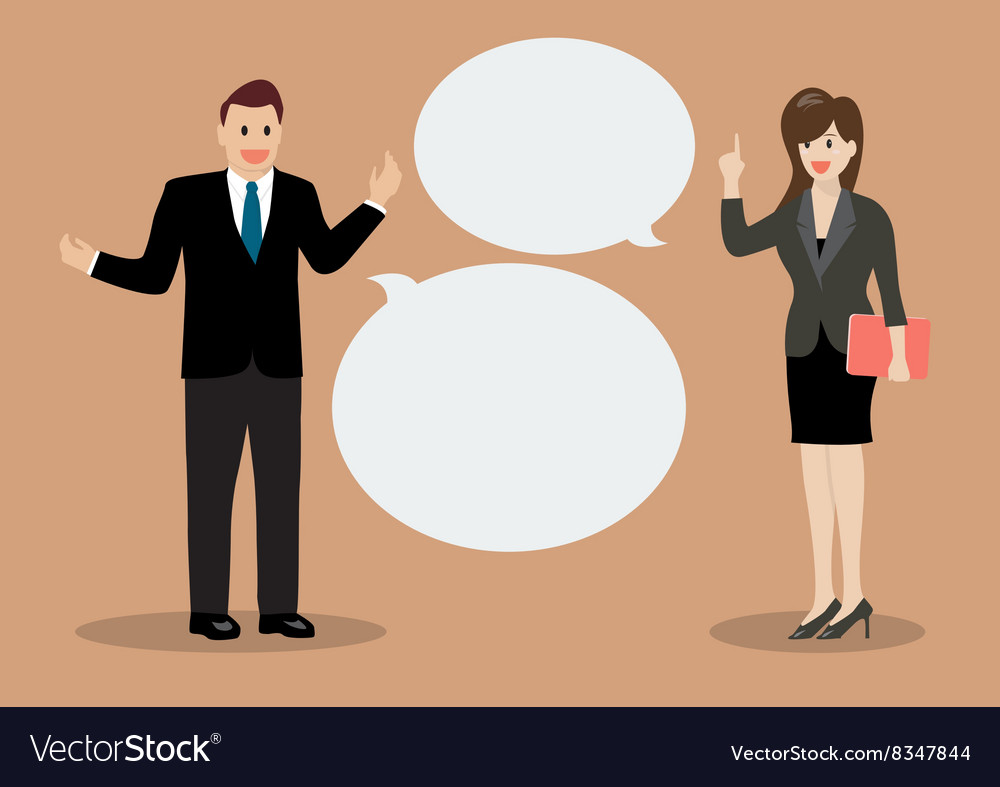 Businessman and business woman discussing vector