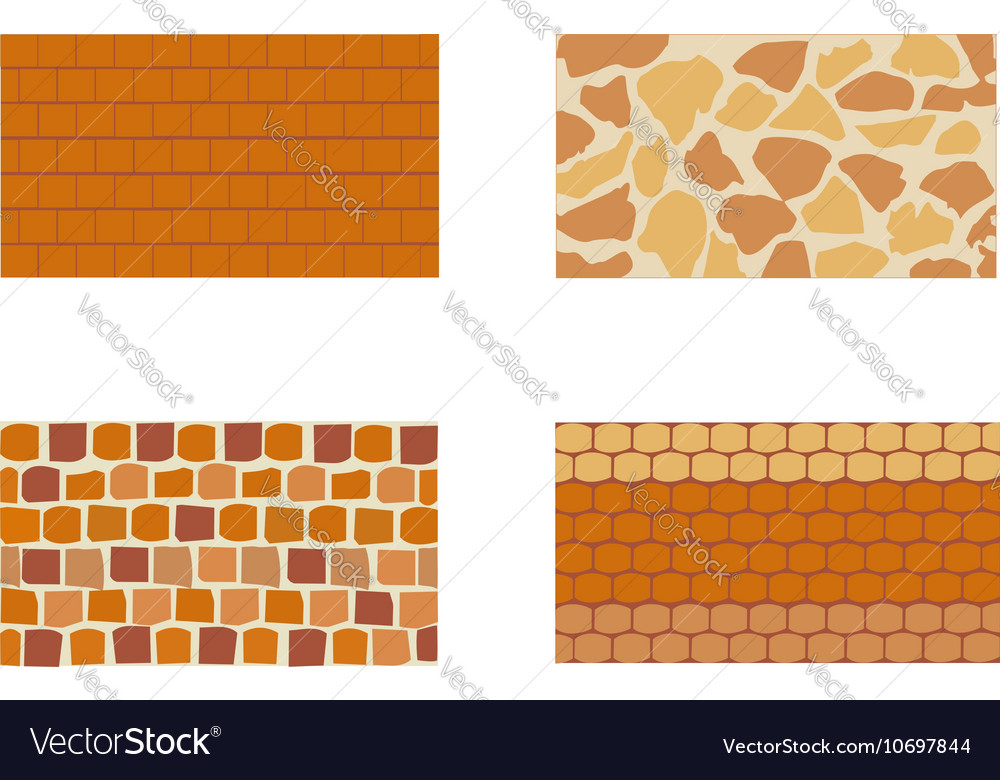 Different kinds of stone brick wall vector