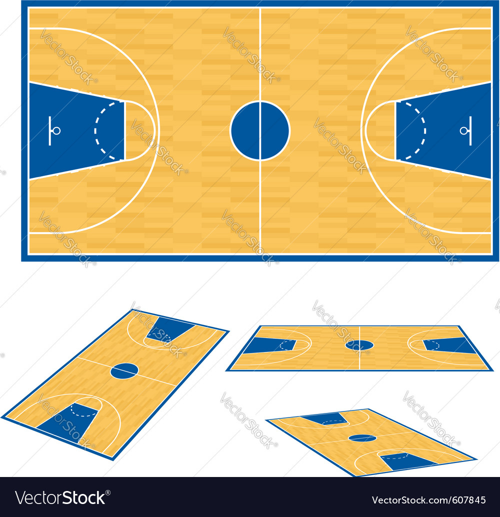 Basketball court floor plan vector