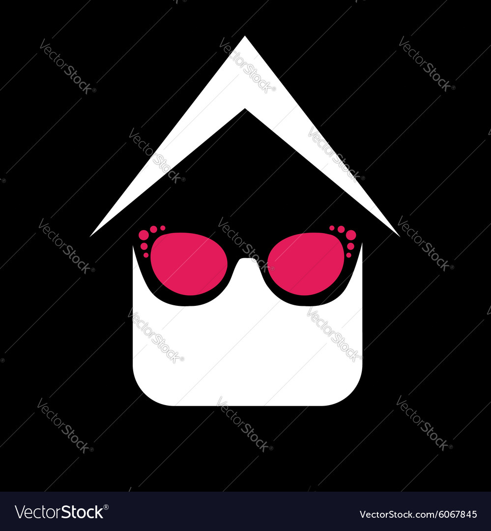 Eye wear shop logo house with fashion eyeglass vector