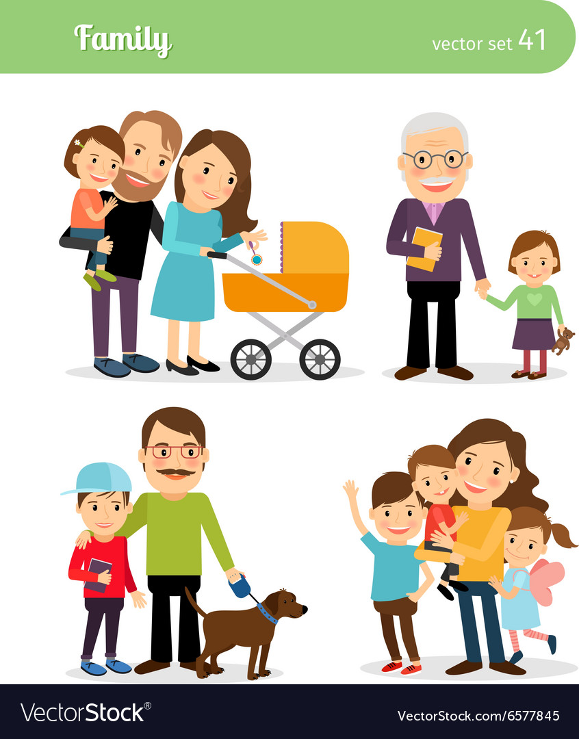 Happy family characters vector
