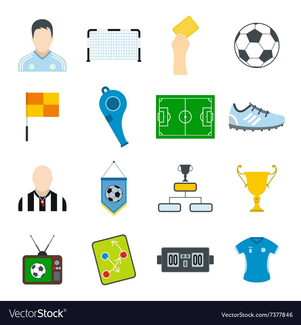 Soccer flat icons set vector