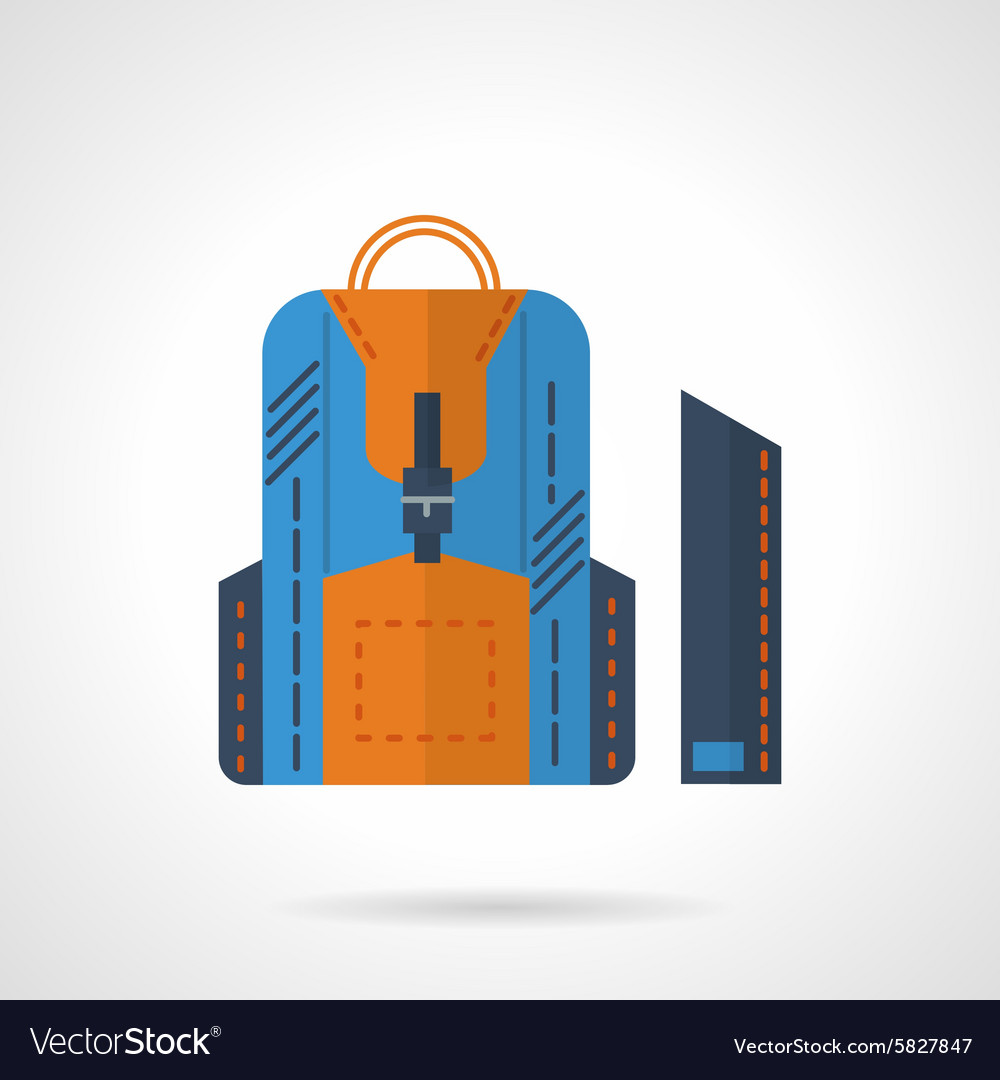 Blue knapsack flat icon vector