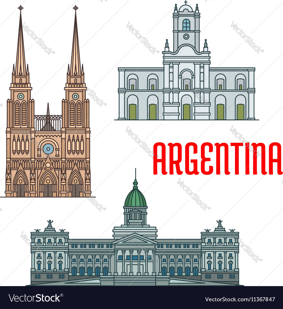 Famous churches and palaces of argentina vector