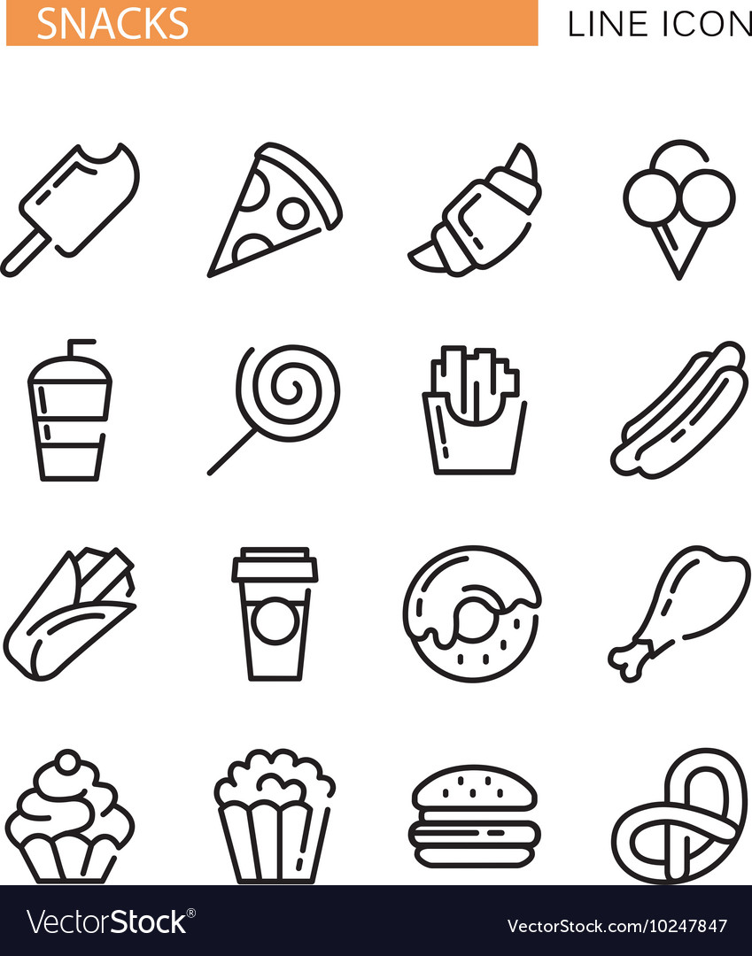 Fast food set of lined icons vector