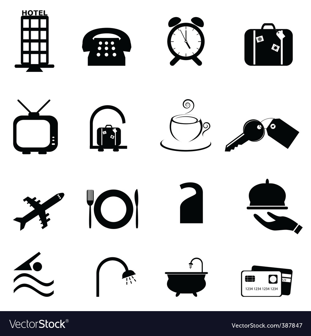 Hotel icons vector