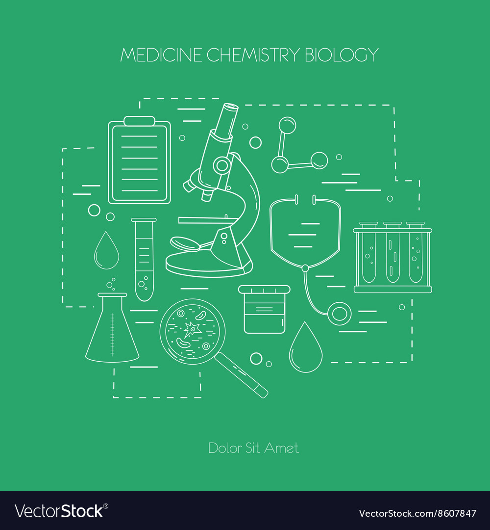 Medical science chemistry handdrawn design vector