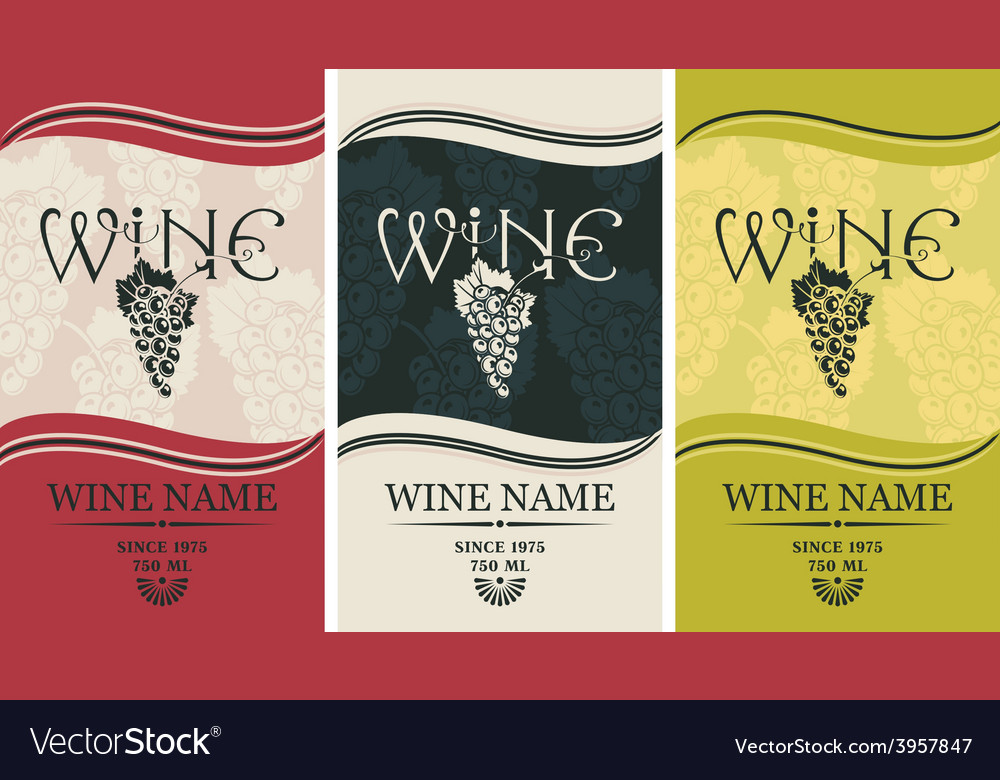 Wine label set vector