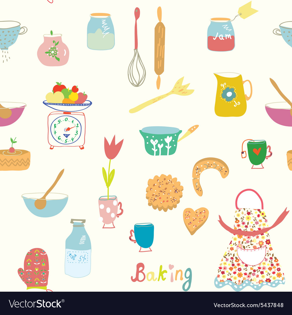 Baking seamless pattern with kitchen objects and vector