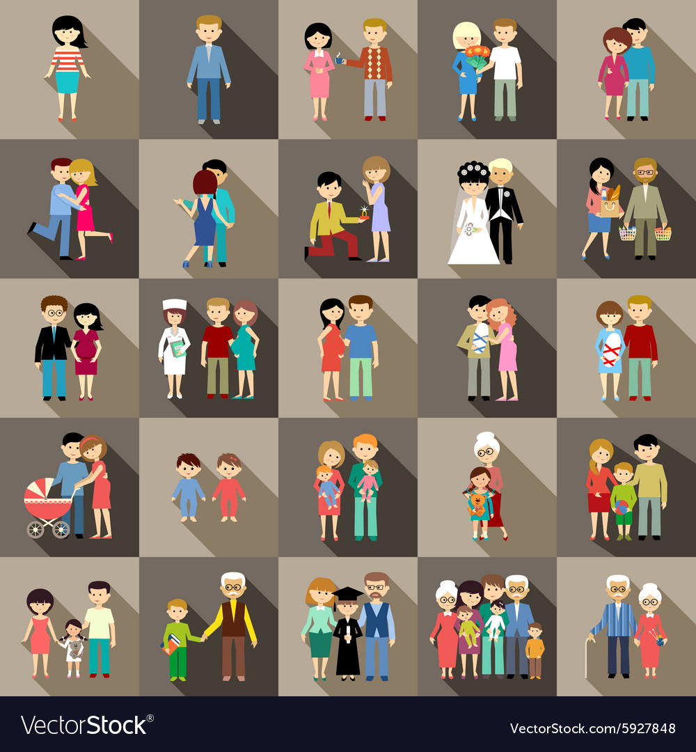 Big set of family life in style flat design vector