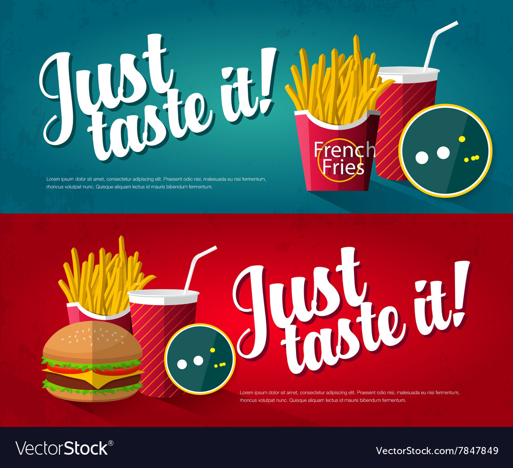 Fast food banner vector