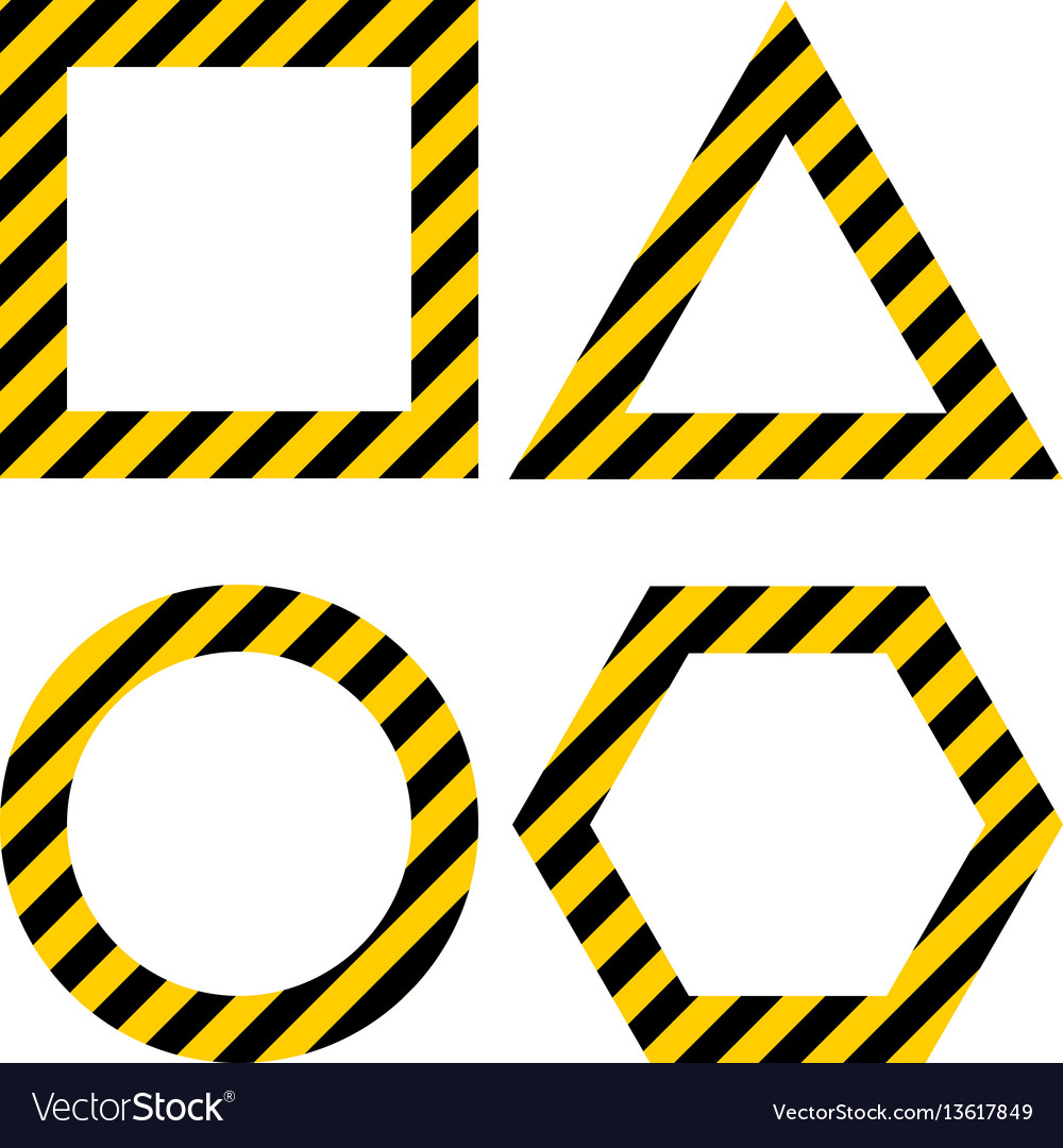 Geometric shapes layout with warning yellow and vector