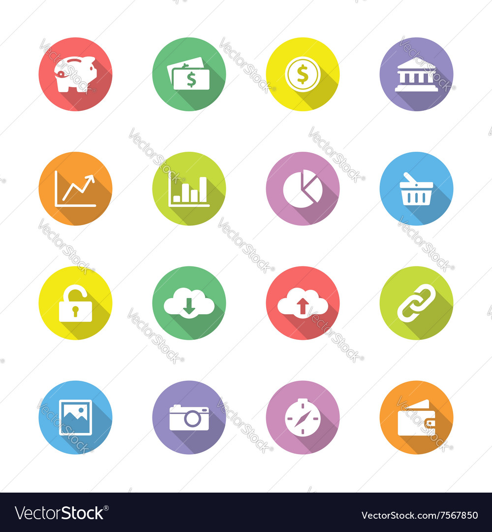 Colorful flat icon set 4 on circle long shadow vector