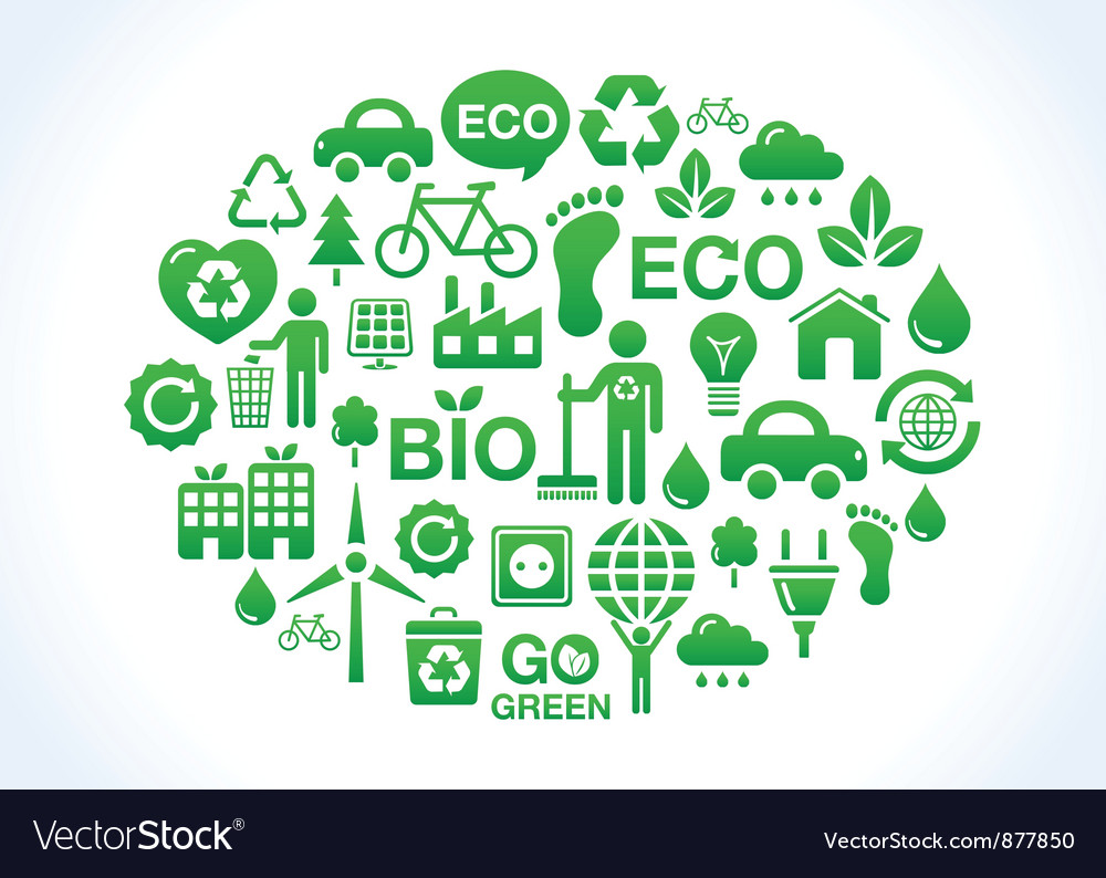 Eco friendly world icons set vector