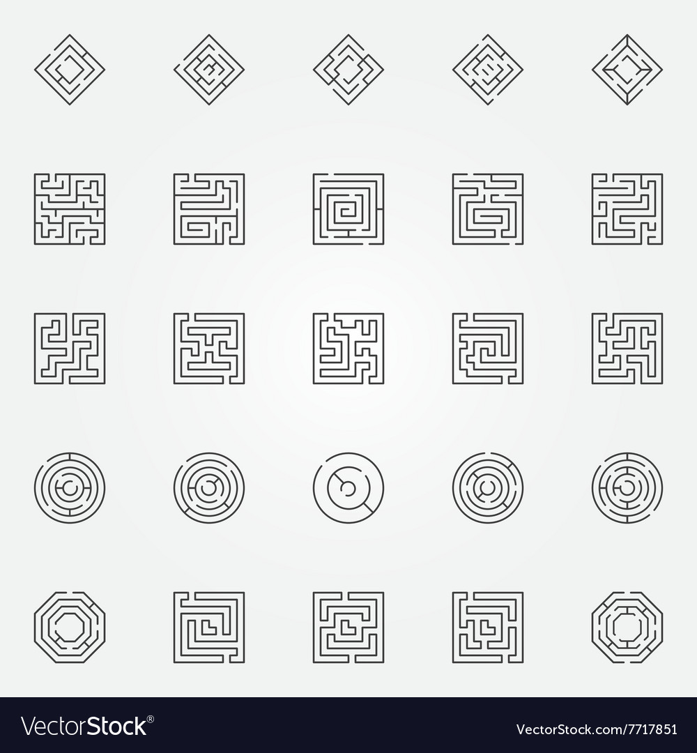 Maze icons set vector