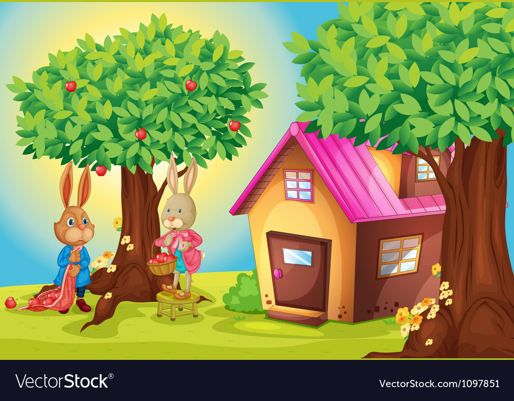 Rabbit and house vector