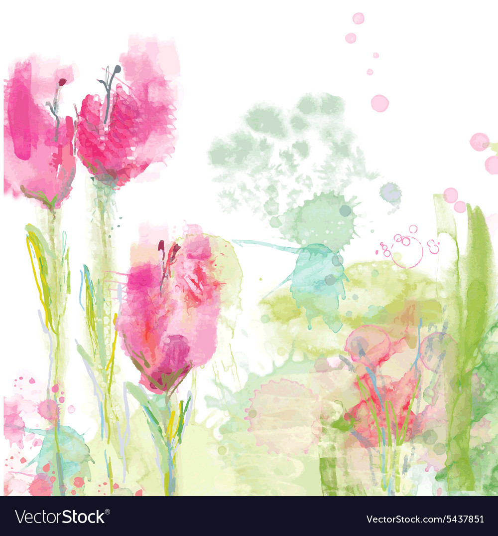 Tulips floral background vector