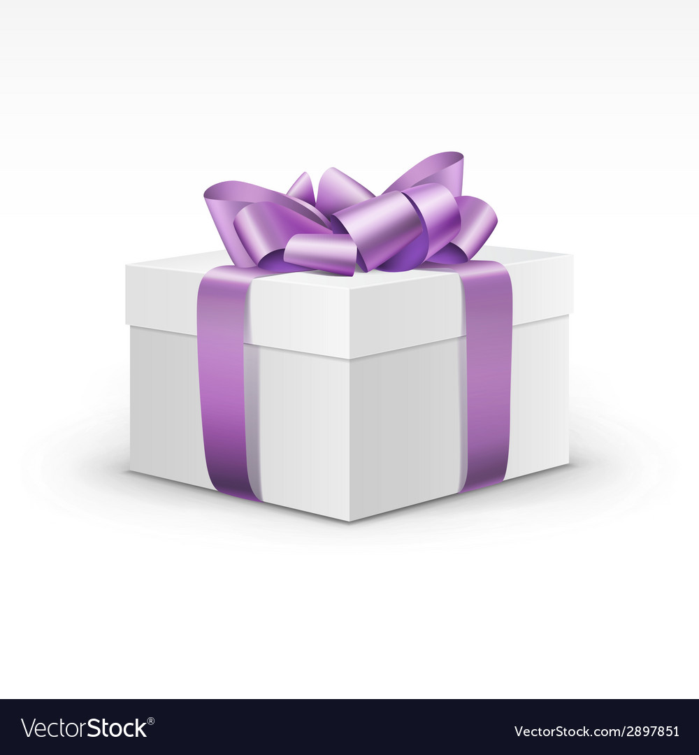 White gift box with light purple violet ribbon vector