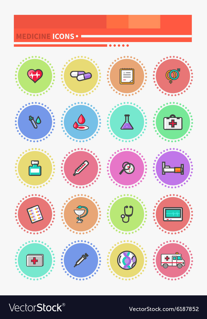 Set of outline medicine icons vector
