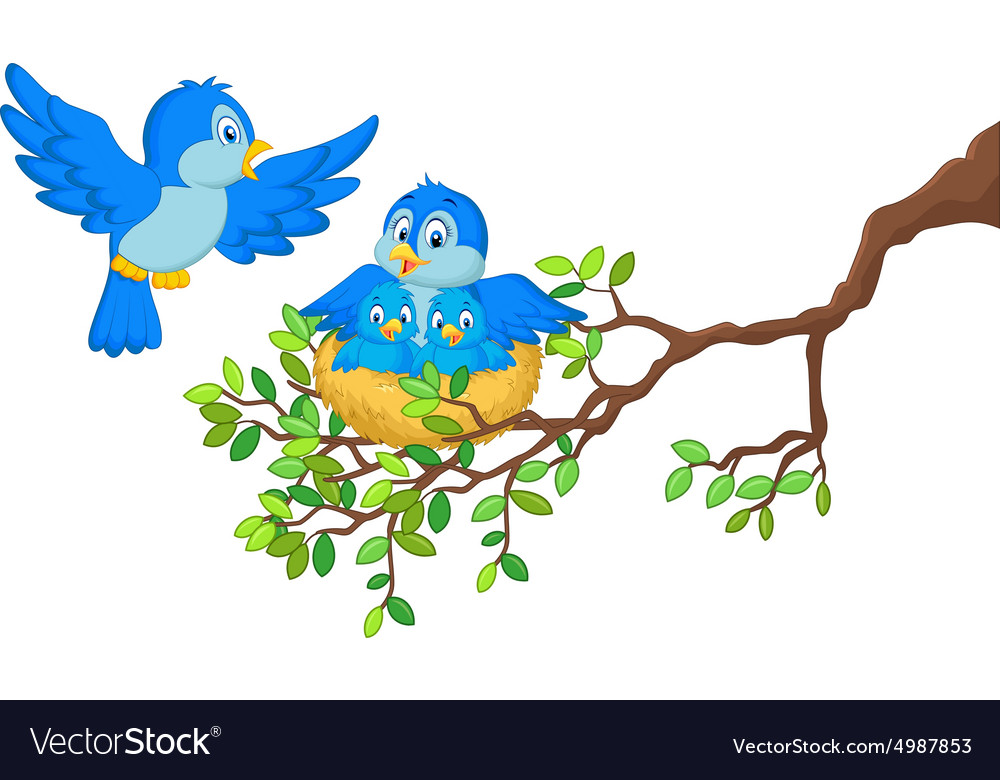 Birds with her two babies in the nest vector