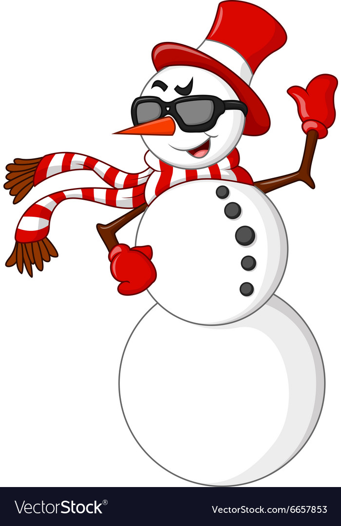 Cartoon snowman waving hand vector